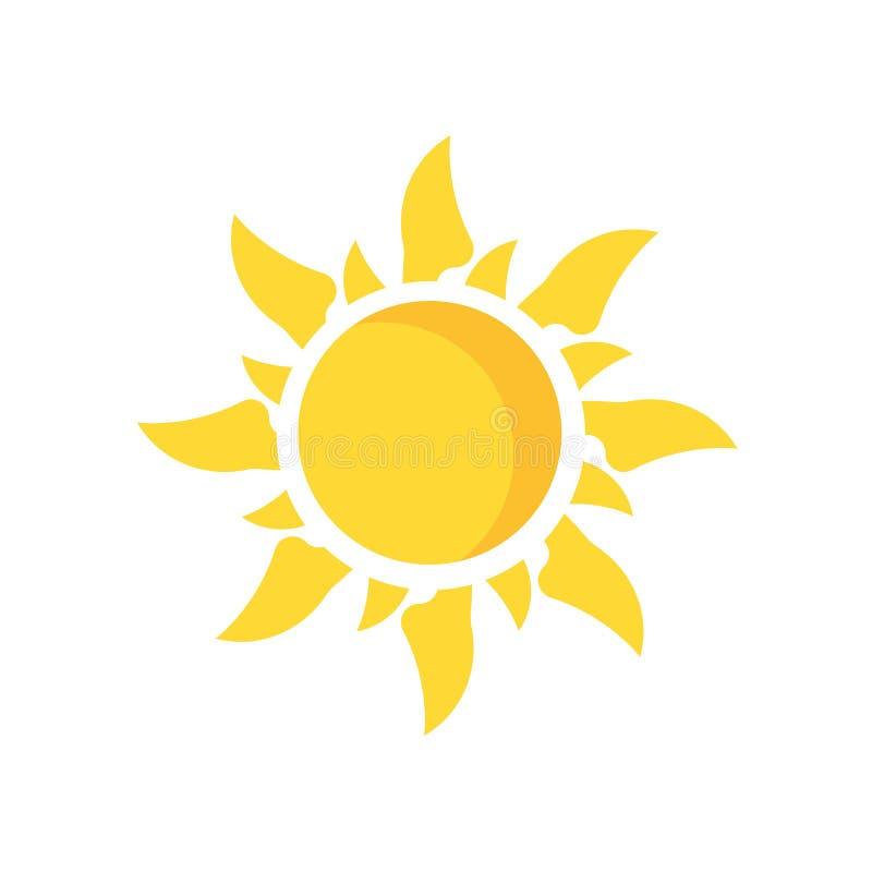 Sinal e símbolo do vetor do ícone de Sun isolados no fundo branco, SU ilustração royalty free