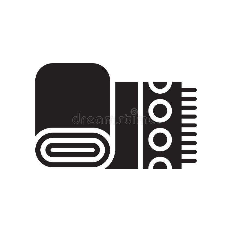 Sinal e símbolo do vetor do ícone de toalha de pano isolados no backgr branco ilustração stock