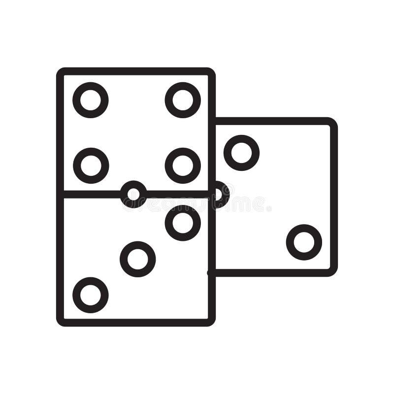 Sinal e símbolo do vetor do ícone do dominó isolados no fundo branco ilustração royalty free