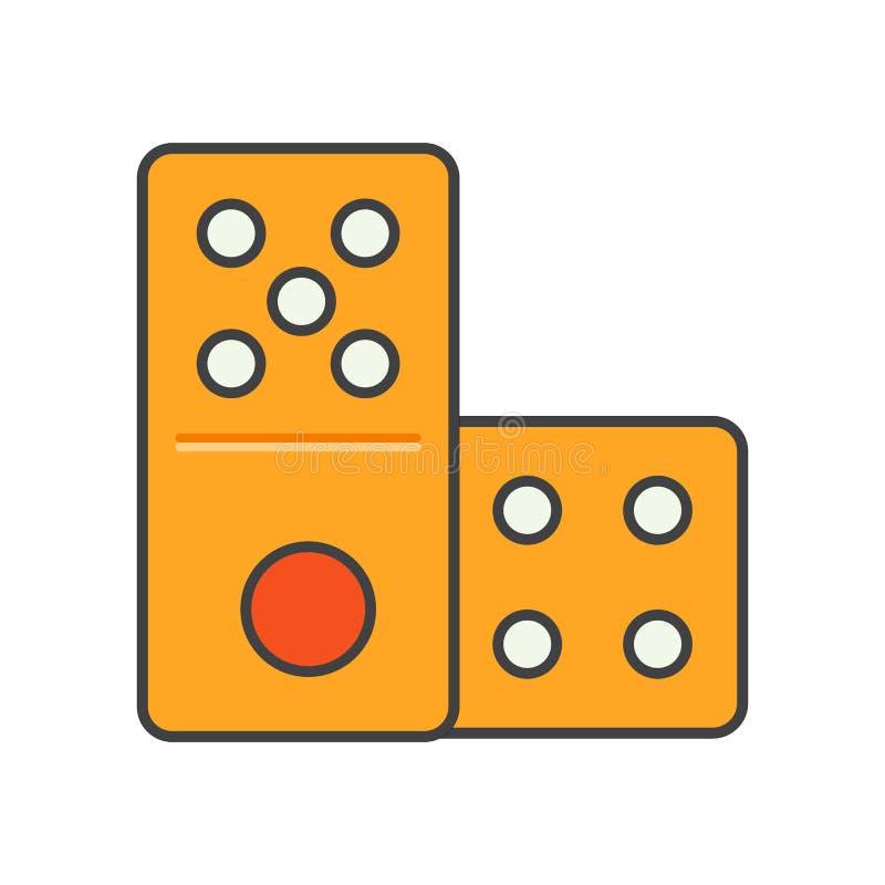 Sinal e símbolo do vetor do ícone do dominó isolados no fundo branco, conceito do logotipo do dominó ilustração do vetor