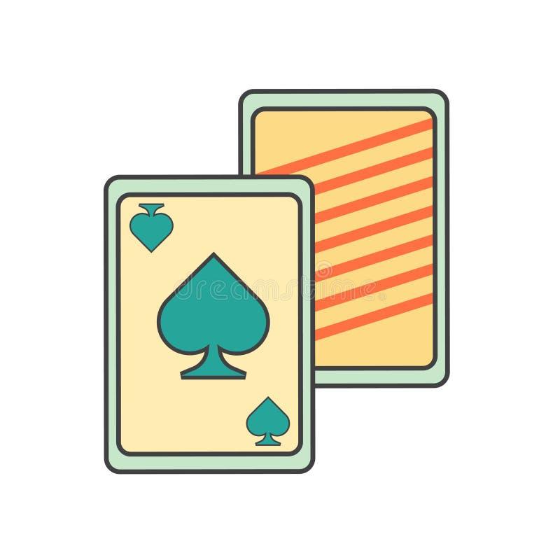 Sinal e símbolo do vetor do ícone dos cartões de jogo isolados no fundo branco, conceito do logotipo dos cartões de jogo ilustração royalty free