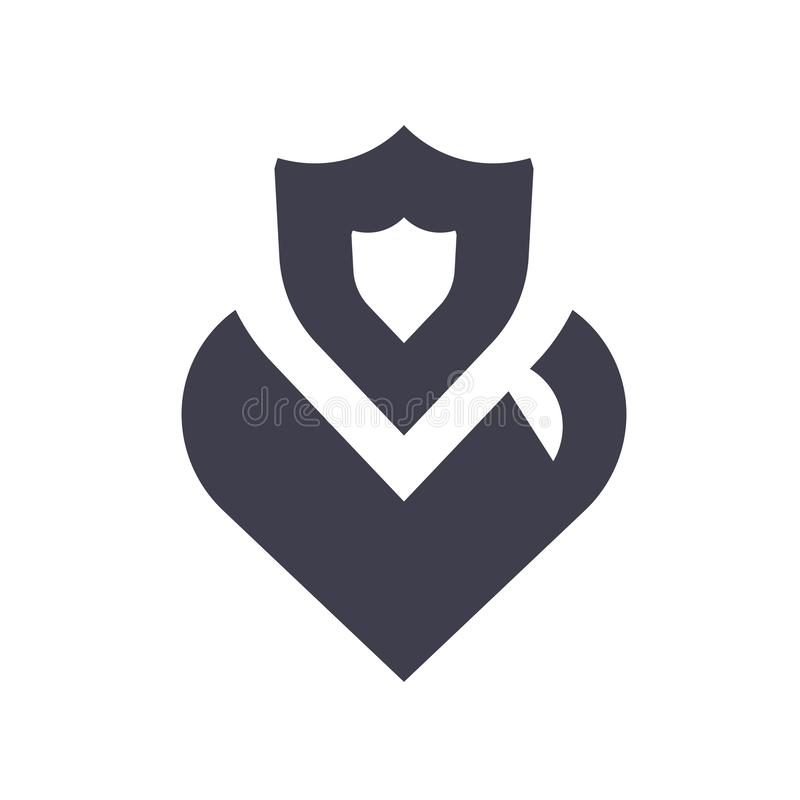 Sinal e símbolo do vetor do ícone dos cuidados médicos isolados no fundo branco, conceito do logotipo dos cuidados médicos ilustração royalty free
