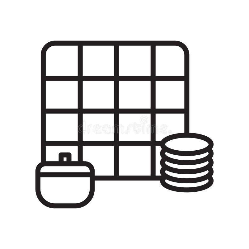 Sinal e símbolo do vetor do ícone dos jogos da economia isolados na parte traseira branca ilustração royalty free