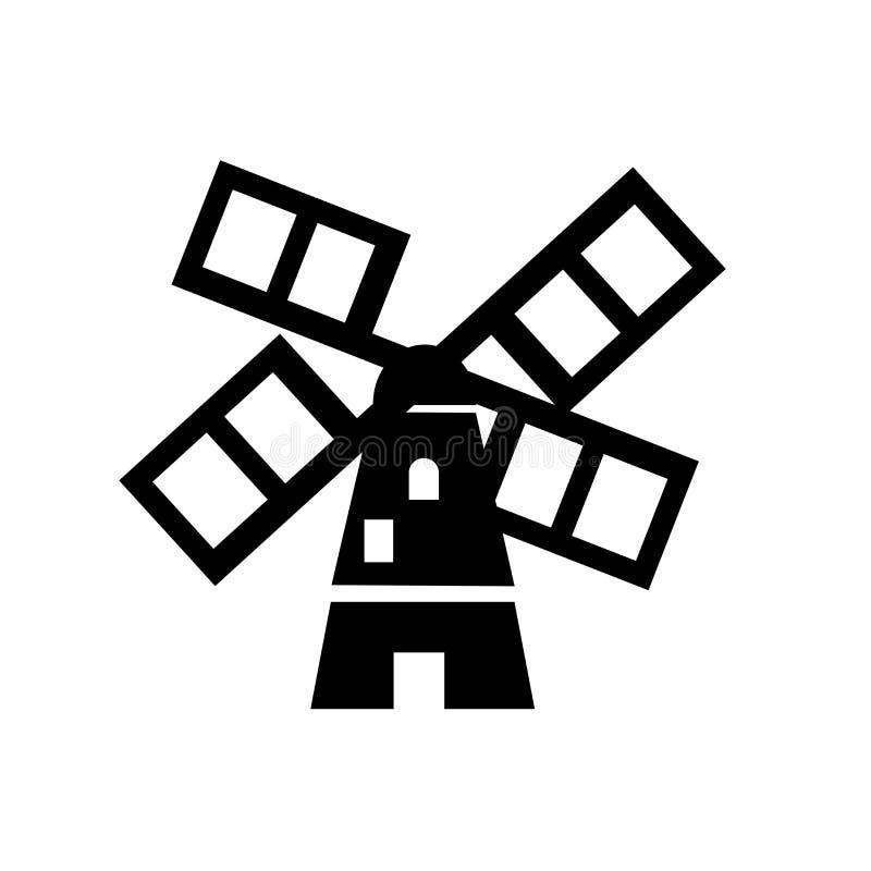 Sinal e símbolo do vetor do ícone dos moinhos de vento isolados no fundo branco, conceito do logotipo dos moinhos de vento ilustração stock