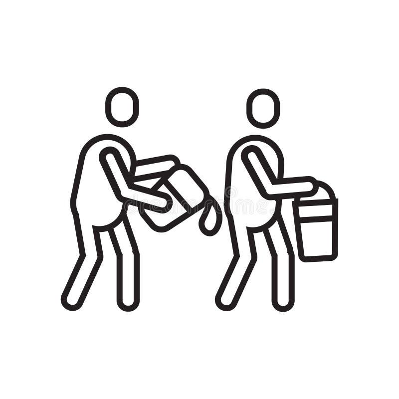 Sinal e símbolo do vetor do ícone dos trabalhos de equipa isolados no backgroun branco ilustração royalty free