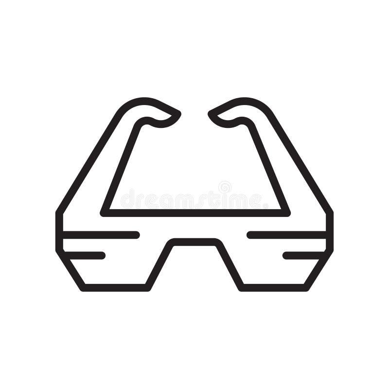 sinal e símbolo do vetor do ícone dos vidros 3d isolados no fundo branco, conceito do logotipo dos vidros 3d ilustração royalty free