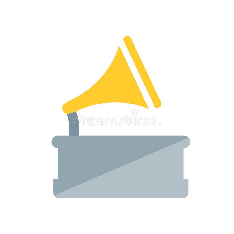 Sinal e símbolo do vetor do ícone do gramofone isolados no fundo branco, conceito do logotipo do gramofone ilustração stock