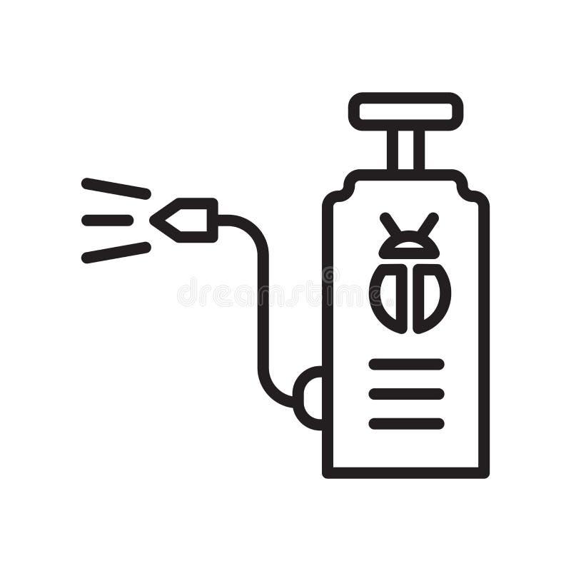 Sinal e símbolo do vetor do ícone do inseticida isolados no fundo branco, conceito do logotipo do inseticida, símbolo do esboço,  ilustração stock