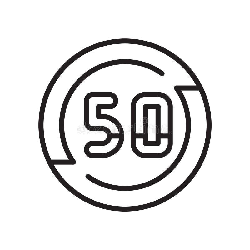 Sinal e símbolo do vetor do ícone do limite de velocidade isolados no fundo branco, conceito do logotipo do limite de velocidade ilustração do vetor