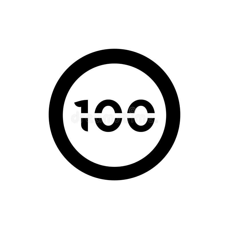 Sinal e símbolo do vetor do ícone do limite de velocidade 100 isolados no fundo branco, conceito do logotipo do limite de velocid ilustração stock