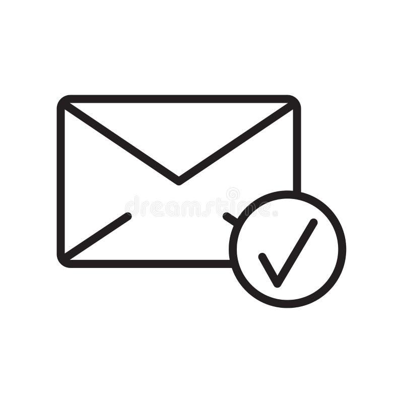 Sinal e símbolo do vetor do ícone do e-mail isolados no fundo branco, conceito do logotipo do e-mail, símbolo do esboço, sinal li ilustração stock