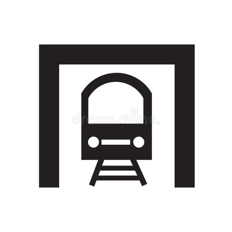Sinal e símbolo do vetor do ícone do metro isolados no fundo branco, conceito do logotipo do metro ilustração stock