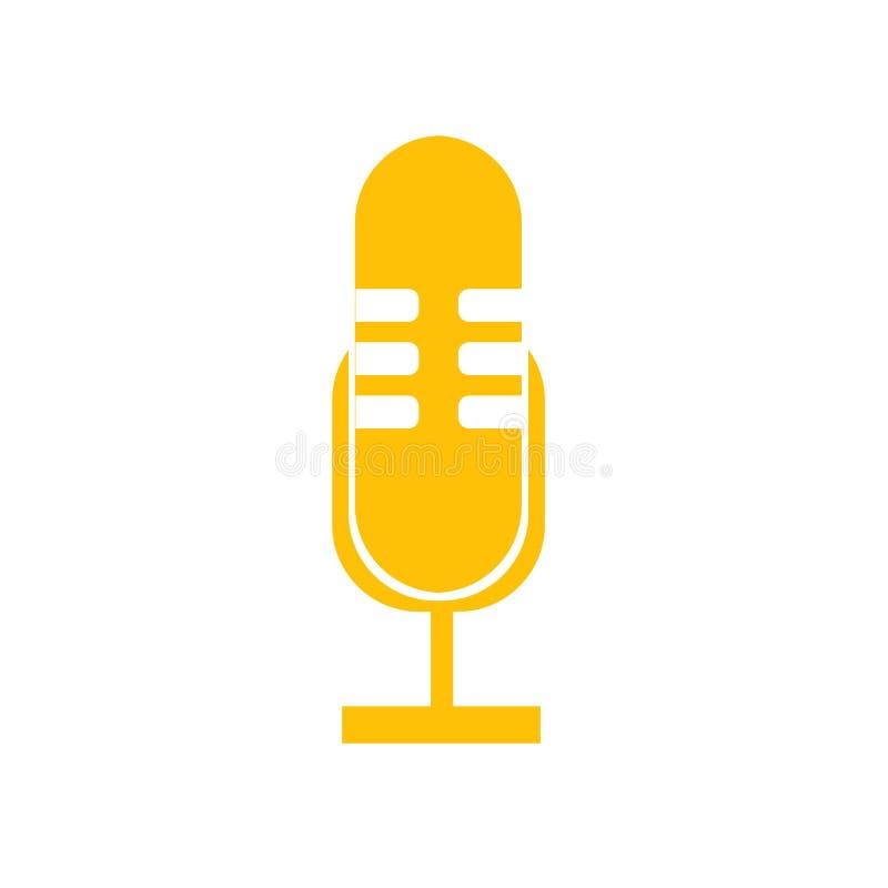 Sinal e símbolo do vetor do ícone do microfone isolados no fundo branco, conceito do logotipo do microfone ilustração stock