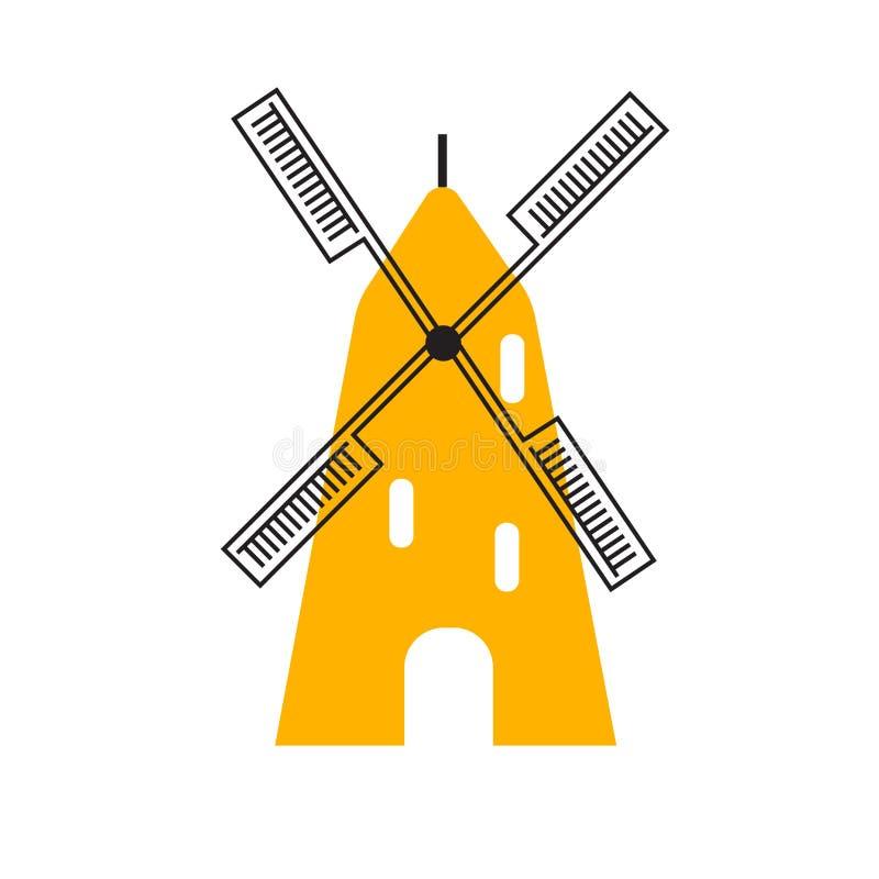 Sinal e símbolo do vetor do ícone do moinho de farinha isolados no fundo branco, conceito do logotipo do moinho de farinha ilustração royalty free