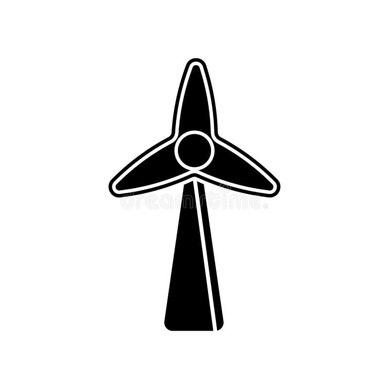 Sinal e símbolo do vetor do ícone do moinho de vento de Eco isolados no backg branco ilustração royalty free
