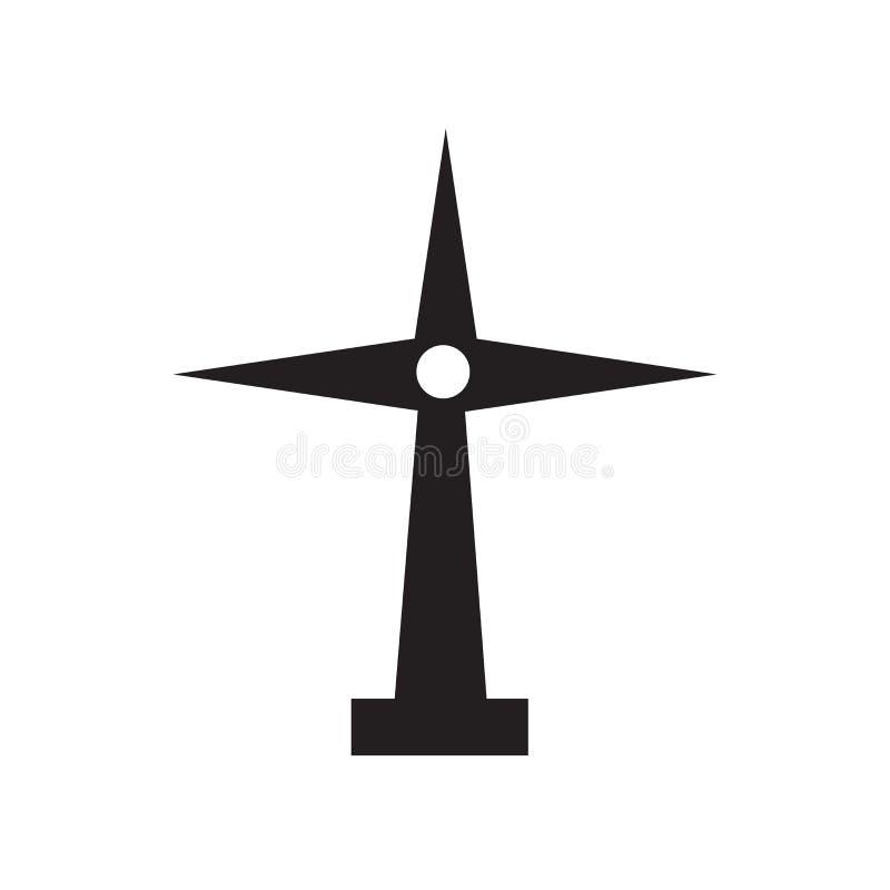Sinal e símbolo do vetor do ícone do moinho de vento isolados no fundo branco, conceito do logotipo do moinho de vento ilustração stock