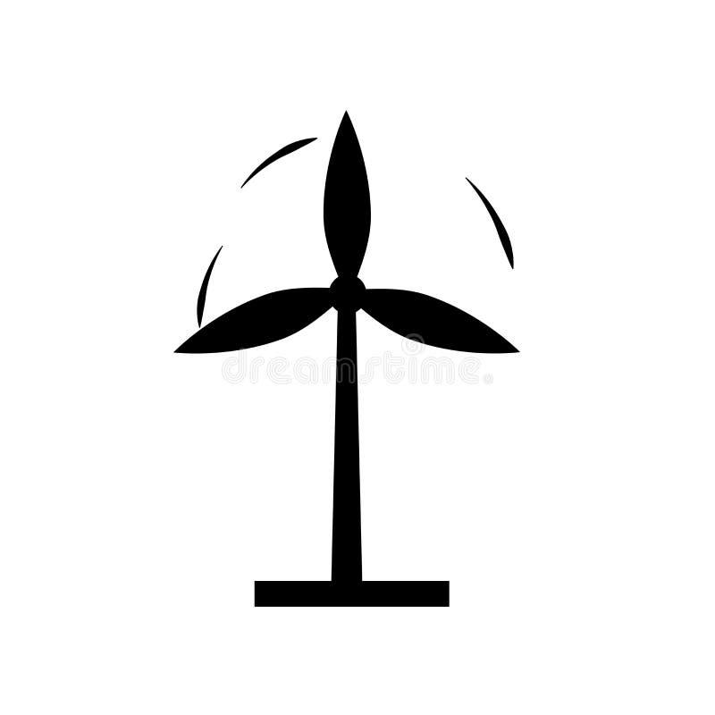 Sinal e símbolo do vetor do ícone do moinho de vento isolados no fundo branco, conceito do logotipo do moinho de vento ilustração royalty free