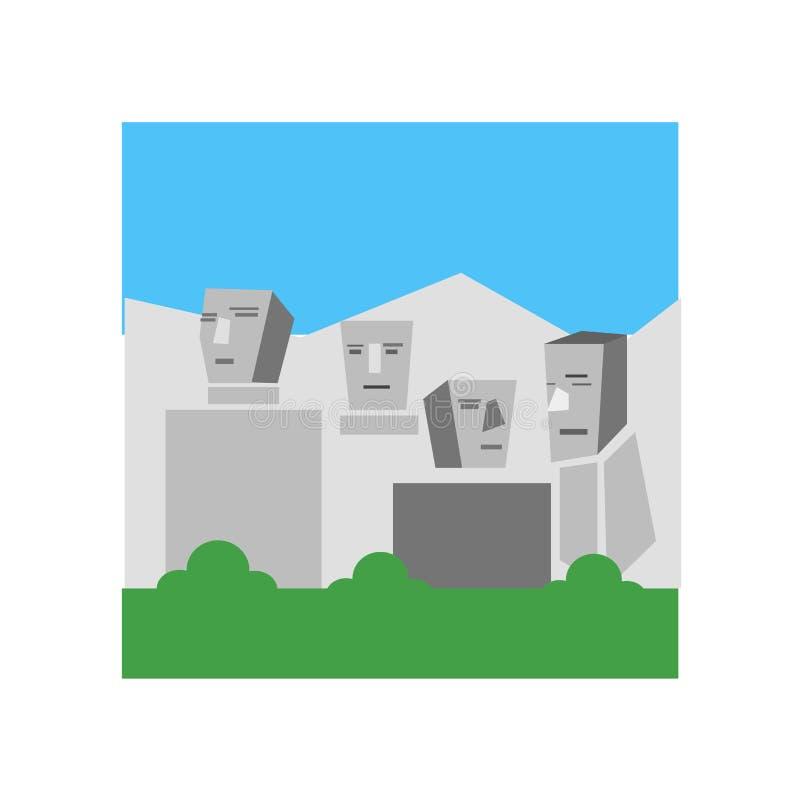 Sinal e símbolo do vetor do ícone do Monte Rushmore isolados no CCB branco ilustração royalty free