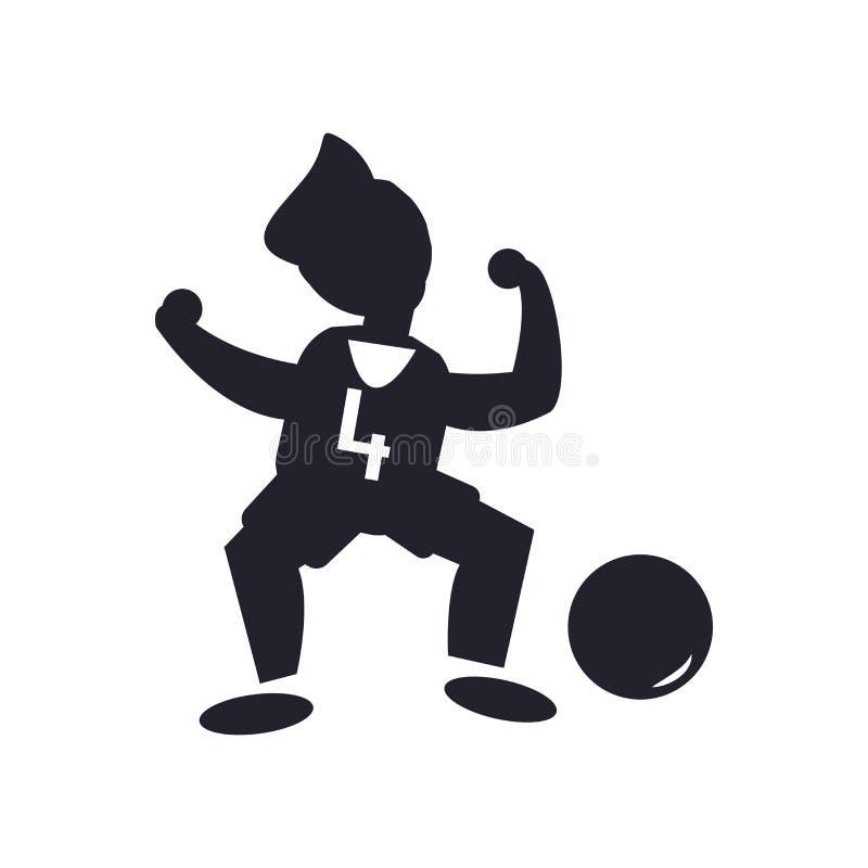 Sinal e símbolo do vetor do ícone do número quatro do jogador de futebol isolados no fundo branco, conceito do logotipo do número ilustração royalty free