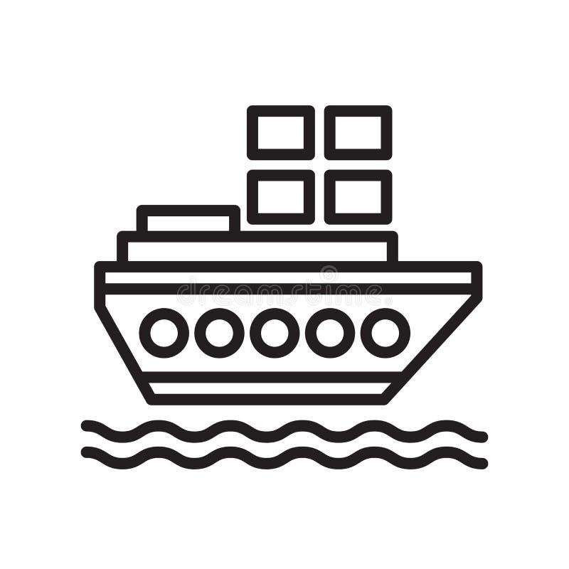 Sinal e símbolo do vetor do ícone do navio isolados no fundo branco, conceito do logotipo do navio, símbolo do esboço, sinal line ilustração stock