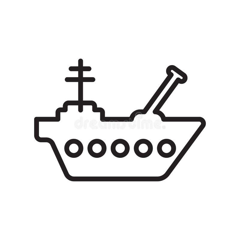 Sinal e símbolo do vetor do ícone do navio isolados no fundo branco, conceito do logotipo do navio, símbolo do esboço, sinal line ilustração do vetor