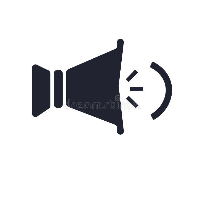 Sinal e símbolo do vetor do ícone do orador isolados no fundo branco, conceito do logotipo do orador ilustração stock