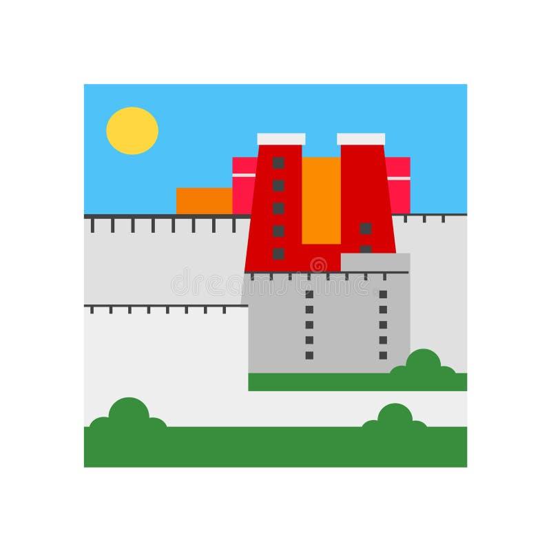 Sinal e símbolo do vetor do ícone do palácio de Potala isolados na parte traseira branca ilustração royalty free