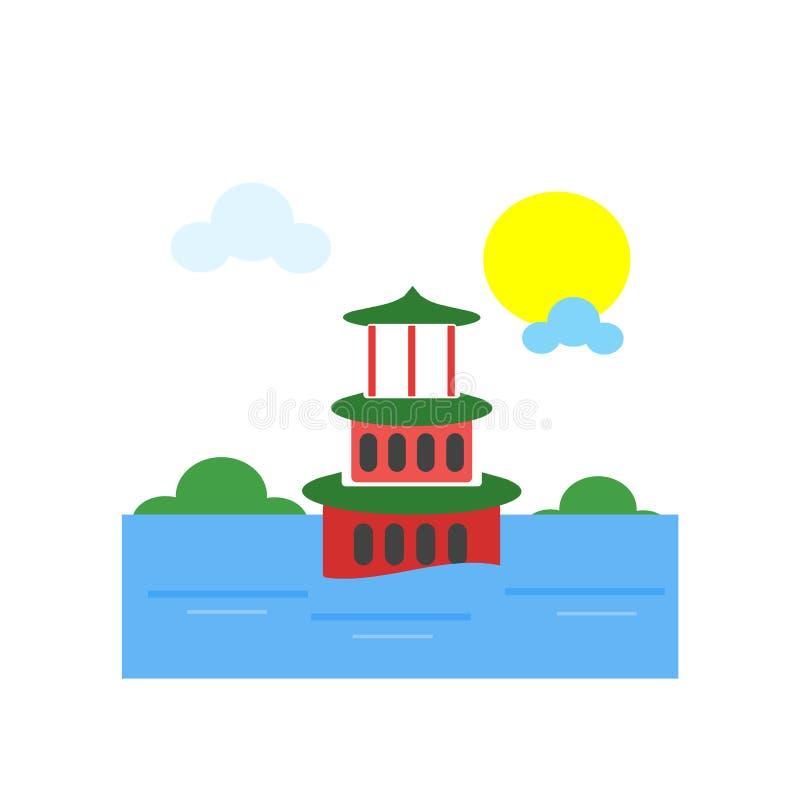 Sinal e símbolo do vetor do ícone do palácio de verão isolados na parte traseira branca ilustração royalty free