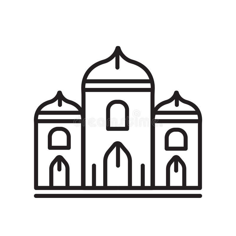 Sinal e símbolo do vetor do ícone do palácio isolados no fundo branco ilustração do vetor