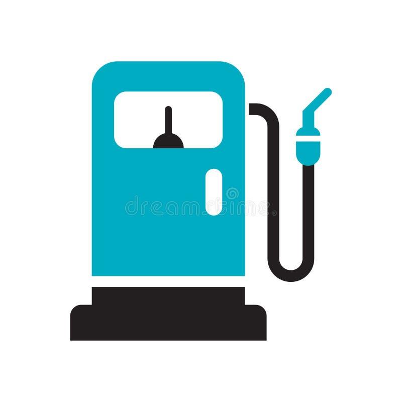 Sinal e símbolo do vetor do ícone do posto de gasolina isolados no fundo branco, conceito do logotipo do posto de gasolina ilustração stock