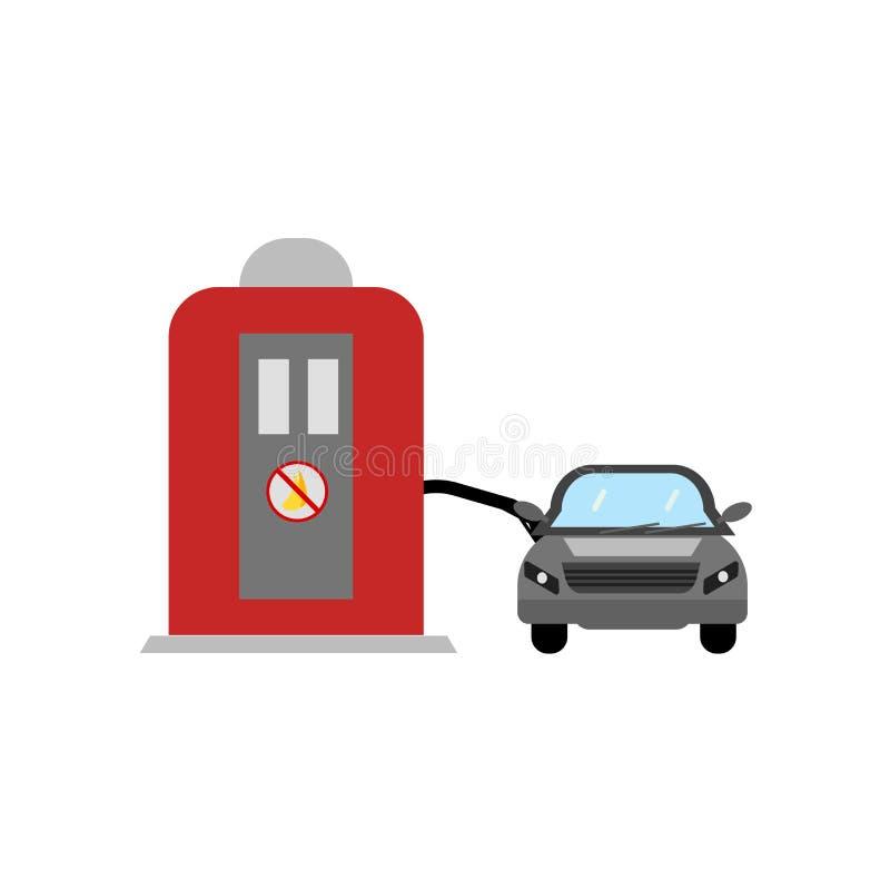 Sinal e símbolo do vetor do ícone do posto de gasolina isolados no fundo branco, conceito do logotipo do posto de gasolina ilustração do vetor