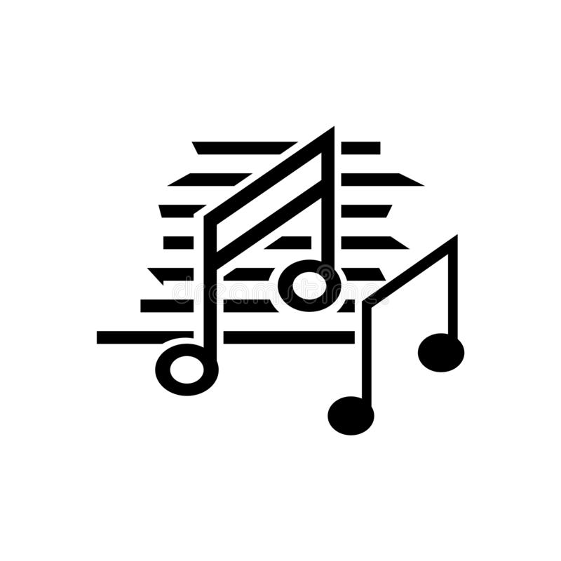 Sinal e símbolo do vetor do ícone do preto da nota da música isolados em b branco ilustração stock