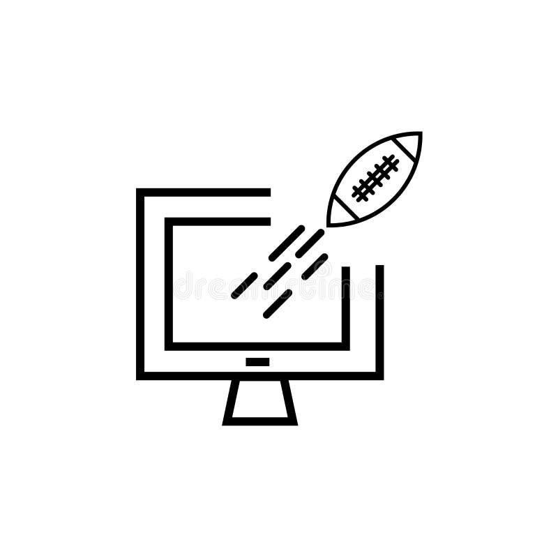 Sinal e símbolo do vetor do ícone do programa da tevê do futebol isolados no fundo branco, conceito do logotipo do programa da te ilustração stock