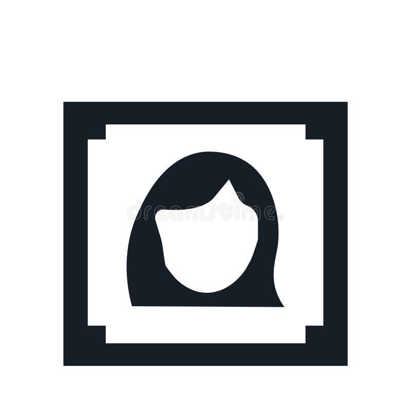 Sinal e símbolo do vetor do ícone do retrato da mulher isolados no fundo branco, conceito do logotipo do retrato da mulher ilustração do vetor