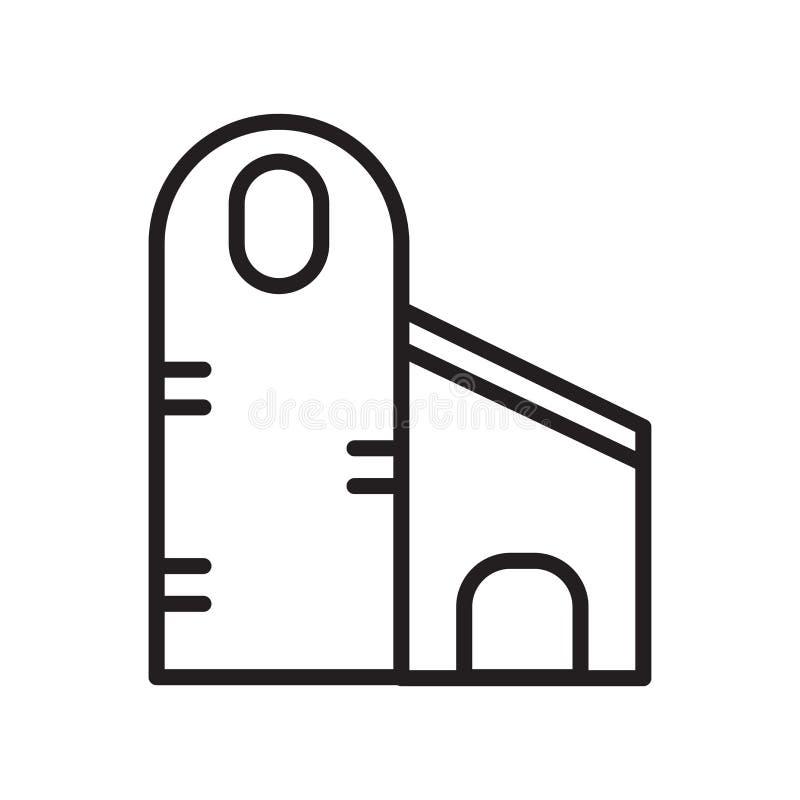 Sinal e símbolo do vetor do ícone do silo isolados no fundo branco, conceito do logotipo do silo, símbolo do esboço, sinal linear ilustração stock