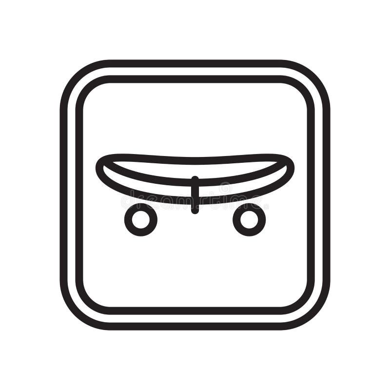 Sinal e símbolo do vetor do ícone do skate isolados no fundo branco, conceito do logotipo do skate ilustração do vetor