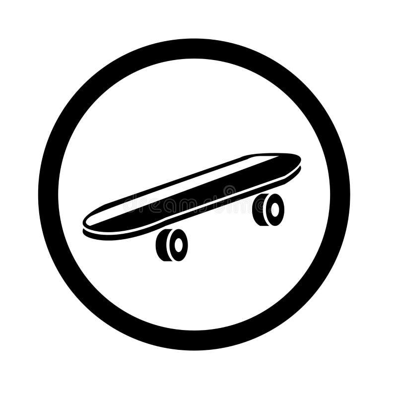 Sinal e símbolo do vetor do ícone do skate isolados no fundo branco, conceito do logotipo do skate ilustração stock