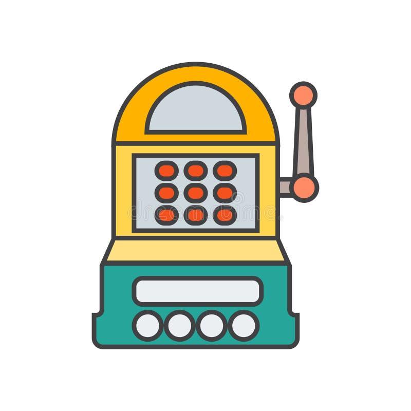 Sinal e símbolo do vetor do ícone do slot machine isolados no fundo branco, conceito do logotipo do slot machine ilustração stock