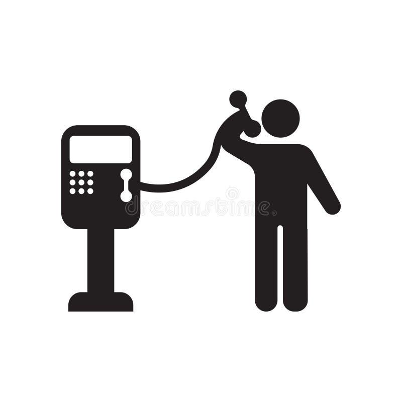Sinal e símbolo do vetor do ícone do telefone público isolados no fundo branco, conceito do logotipo do telefone público ilustração stock