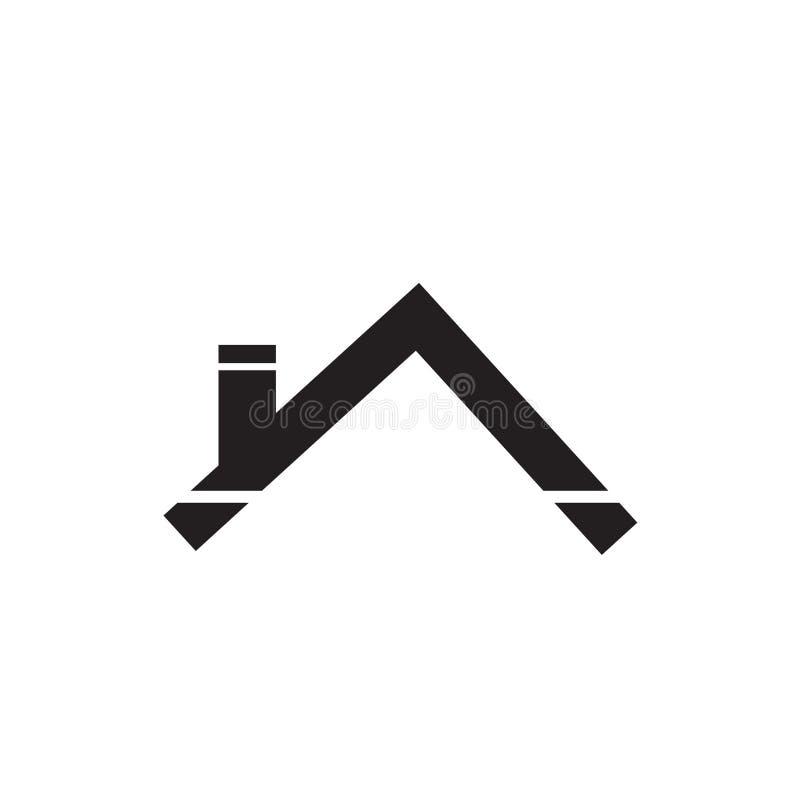 Sinal e símbolo do vetor do ícone do telhado da casa isolados no fundo branco, conceito do logotipo do telhado da casa ilustração stock