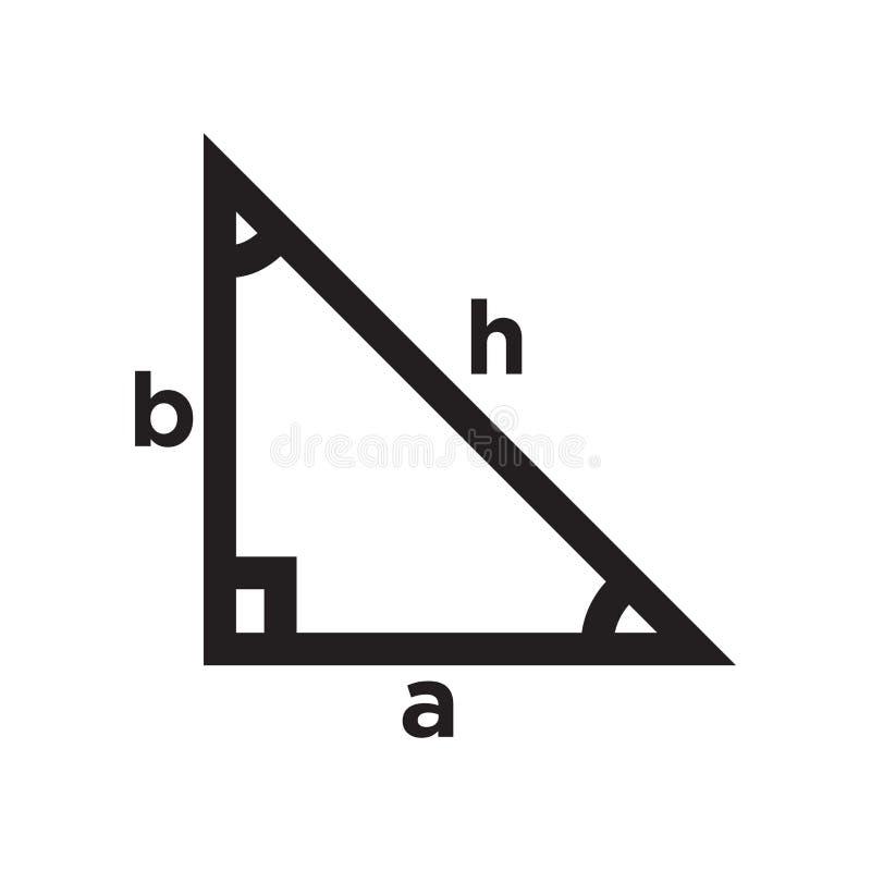 Sinal e símbolo do vetor do ícone do trigonometria isolados no fundo branco, conceito do logotipo do trigonometria ilustração royalty free