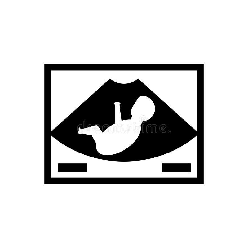 Sinal e símbolo do vetor do ícone do ultrassom isolados no fundo branco, conceito do logotipo do ultrassom ilustração do vetor
