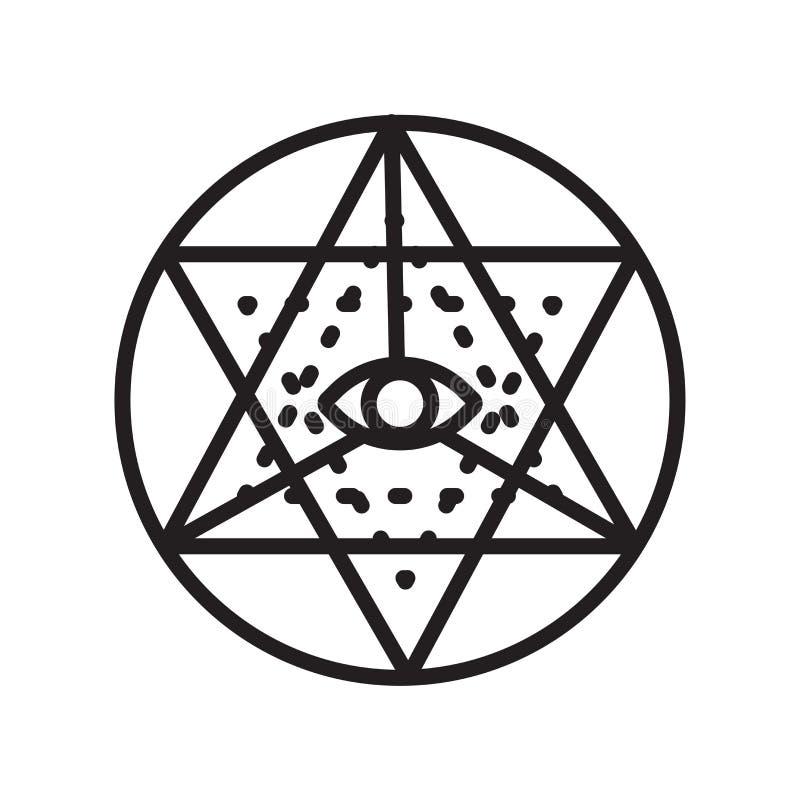 Sinal e símbolo do vetor do ícone do yantra de Sri isolados no backgro branco ilustração do vetor