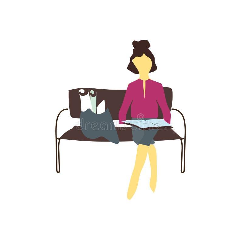 Sinal e símbolo do vetor do vetor dos papéis da leitura da menina isolados no fundo branco, conceito do logotipo do vetor dos pap ilustração stock