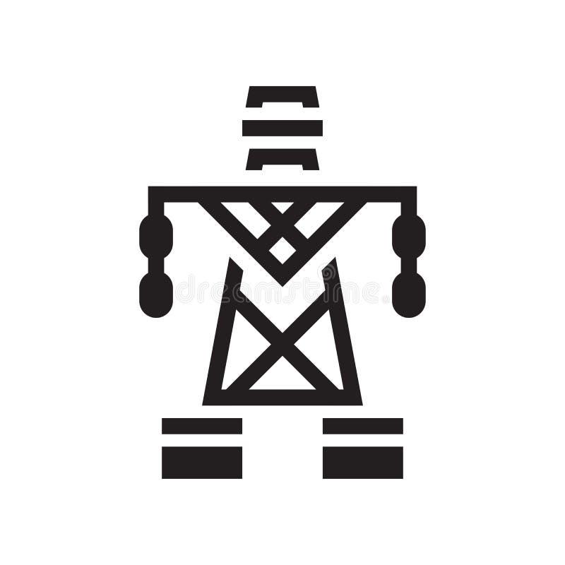 Sinal e símbolo elétricos do vetor do ícone da torre no CCB branco ilustração stock