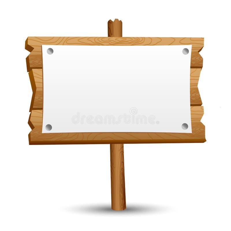 Sinal em branco de madeira foto de stock