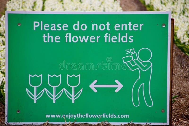 Sinal em campos de flor em Noordwijkerhout advertir turistas não entrar nos campos para fotos foto de stock royalty free