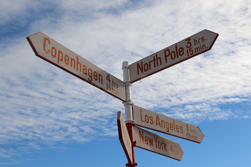 Sinal em Kangerlussuaq, Gronelândia imagens de stock royalty free