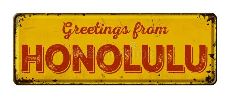 Sinal em um fundo branco - cumprimentos do metal do vintage de Honolu foto de stock royalty free