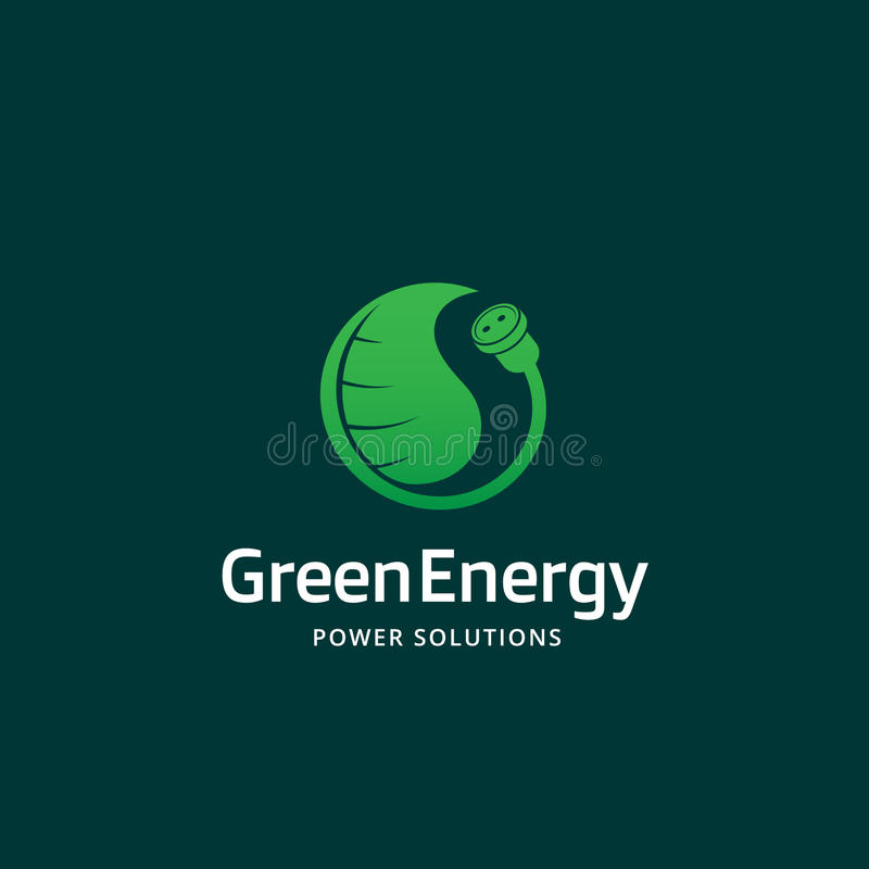 Sinal, emblema ou Logo Template abstrato do vetor das soluções verdes do poder da energia Conceito criativo do soquete e da folha ilustração do vetor